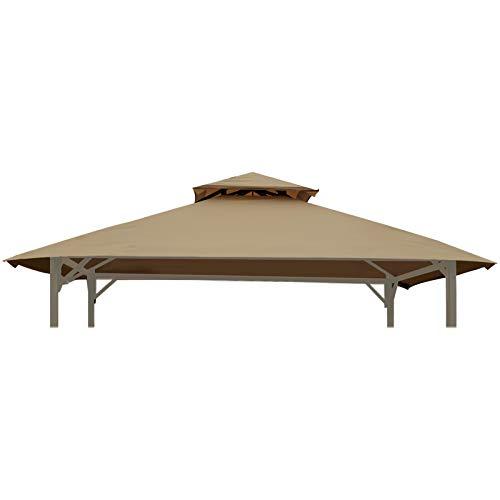 Gafrem Ersatz-Überdachung für Grillpavillon, 5 x 8, doppelstöckig, Grillabdeckung, nur passend für Pavillon-Modell L-GG001PST-F (helles Khaki)