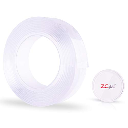 ZC GEL Double Sided Adhesive Tape 9.84FT/3 Meter, Transparent Strong Adhesive Traceless Removable and Reusable Anti Slip Tape for Home, Wall, Room, Office Decor(2mm Adhesive Tape)