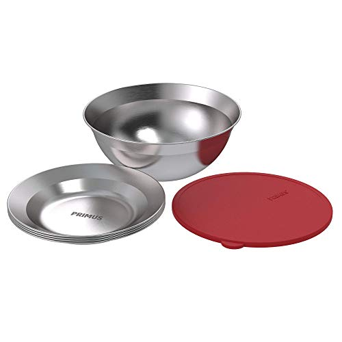 Primus   CampFire Serving Kit   Stainless Steel Plates, Bowl, and Silicon Lid for Camping & Outdoor Cooking