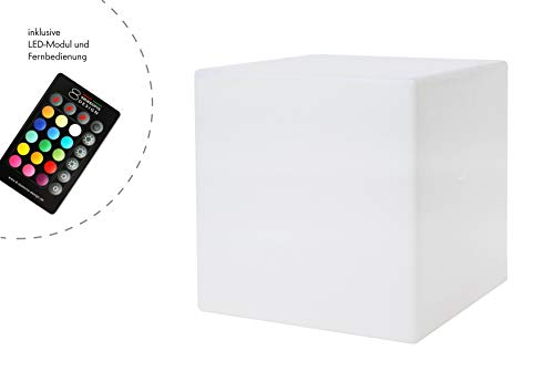 8 seasons design | LED Leuchtwürfel Shining Cube (33 cm, 15 Farben, RGB Farbwechsel, dimmbar, Loungewürfel, Würfel mit Licht, Garten, Terrasse, Balkon & Indoor) weiß