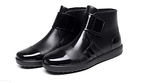 [ジーエヌオー] メンズ レディース 男女兼用 レイン ショートタイプ ブーツ 防水 軽量 長靴 ビジネスレインブーツ 作業靴 アウトドア 黒 (26.5)