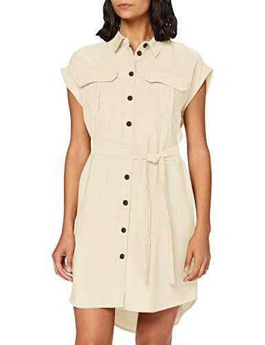 Vero Moda Vmvenus Wide S/l Short Shirt Dress Wvn Vestito, Betulla, M Donna