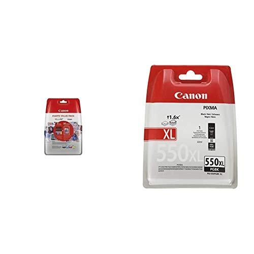 Canon Cartuchos Multipack original Negro/Cian/Magenta/Amarillo Xl Impresora Inyeccion tinta Pixma + PGI-550XL Cartucho de tinta original Negro XL para Impresora de Inyeccion de tinta Pixma