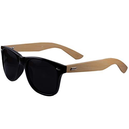 Holzwurm Sonnenbrille mit Holzbügeln aus Bambus für Damen & Herren/Brillengläser mit UV400-Schutz, Schwarz / Bambus, Bambus