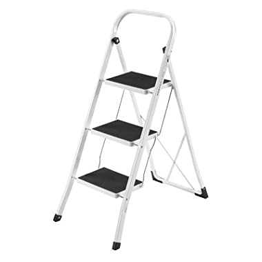 VonHaus Steel Folding Compact Portable 3 Step Ladder with 330lbs Capacity