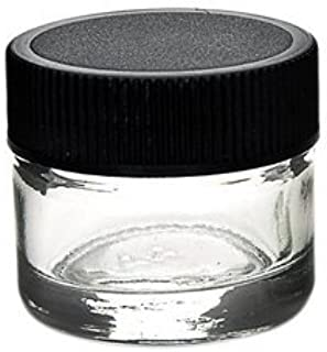 "DabJars : set of 10 glass jars 5ml / 1.2""x1.2"" BLACK cap threaded screw top heavy weighted glass retail or wholesale packaging"