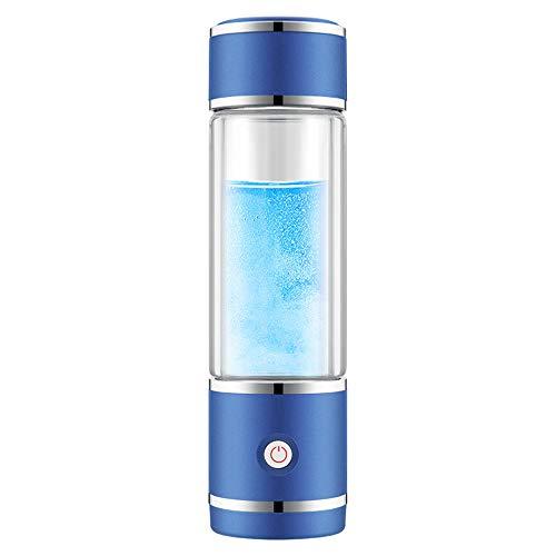 Generador de agua rico en hidrógeno, recargable, con membrana SPE, función de autolimpieza, alta concentración, descarga ozono y cloro, con tecnología PEM de dos cámaras de 300 ml, color azul.