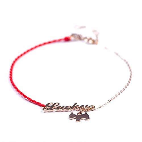 OMZBM Lucky Dog Bracelet 18K Gold English Alphabet Hand Woven Red Rope Adjustable Bracelet For Women And Girl