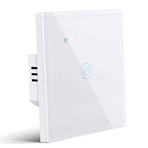 Smart Lichtschalter, 1 Weg Wlan Lichtschalter Alexa Wifi Lichtschalter kompatibel mit Google Home Smart Life, Smart Alexa Wechselschalter mit Timging-Fuction Überlastungsschutz, ohne Hub