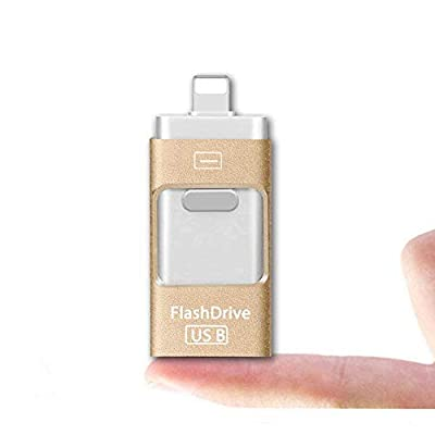 USB Flash Drive 16 32 64GB Lightning iPhone Memory Stick OTG Cell Phone External Storage Memory Expansion [3 in 1] Adapter for iPhone iPod IOS Android PC Macbook by Elekmall