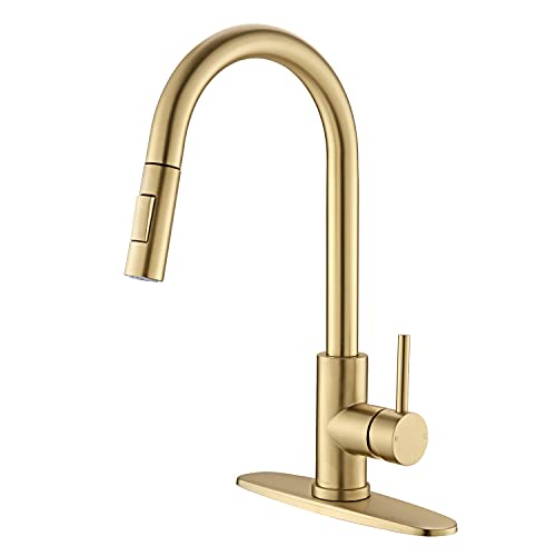 Tohlar Gold Kitchen Faucets with Pull-Down Sprayer, Modern Stainless Steel Single Handle Pull Down Kitchen Sink Faucet with Deck Plate (Brushed Gold)