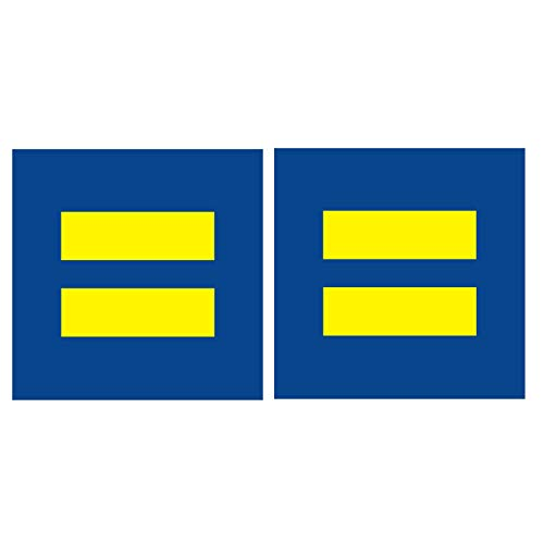 """Equality 2.75"""" Support Sign LGBT Love Pride Marriage Equal Blue Yellow Reflective Decal Vinyl Sticker Safety Night Rear for Motorcycle Bike Car Hard Hat"""