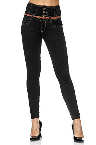 Elara Damen Jeans Skinny High Waist Hose mit Gürtel und Push Up Effekt Chunkyrayan BG822 Black-40 (L)