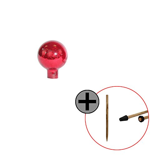Rosenkugel Gartenkugel (Ø 10 cm) inkl. passenden Stab, in versch. Farben und Designs - (Rot Kristall)