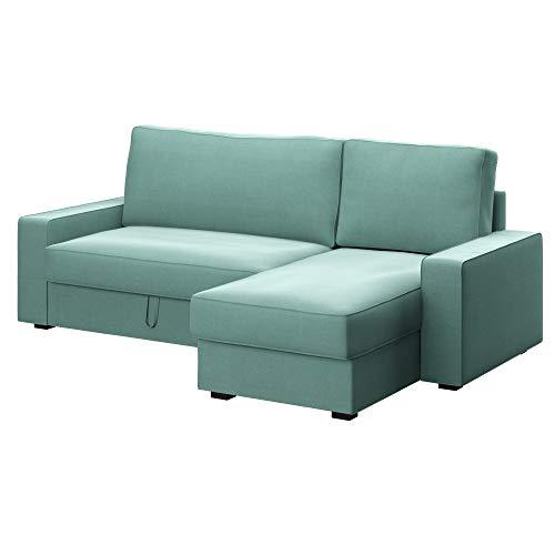 Soferia Ersatzbezug fur IKEA VILASUND Bettsofa mit Récamiere, Stoff Elegance Mint, Grün