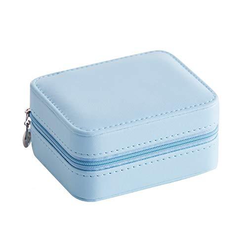 Timagebreze Caja de ExhibicióN Organizador de Joya Caja de la Joya de Viaje Caja de la Joya PortáTil Caja de Almacenamiento de Cuero con Cremallera Azul