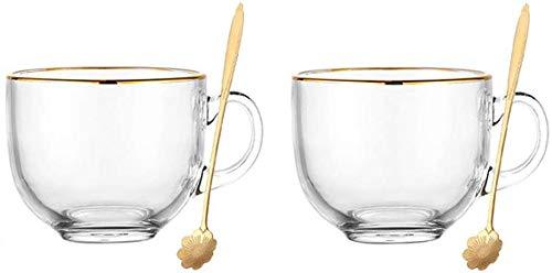 KKgud Teteras de cristal con borde dorado, tazas de café de 16 onzas, cuencos de yogur con cucharas, juego de 2