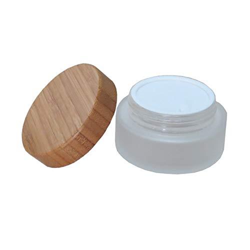 Tarro cosmético de vidrio esmerilado con obturador y tapa de bambú natural, para cremas y rellenable