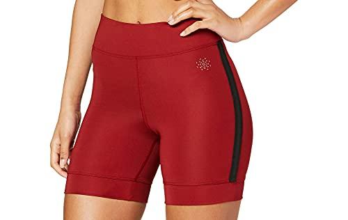 AURIQUE Shorts para Correr con Banda Lateral Mujer, Rojo (Red Dhalia), 40, Label:M