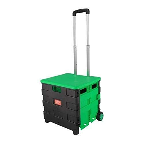 Allamp Home Foldable Shopper Luggage Cart Hand Truck Portable Pack & Roll Folding Grocery Basket Crate With Lid Green