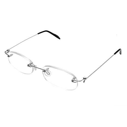 Forepin reg; Gafas de Lectura sin Montura Hombres Mujeres Transparente Reading Glasses Dioptria Rectangular Lente Transparente Visión Clara Rotación de la Lente Unisexo
