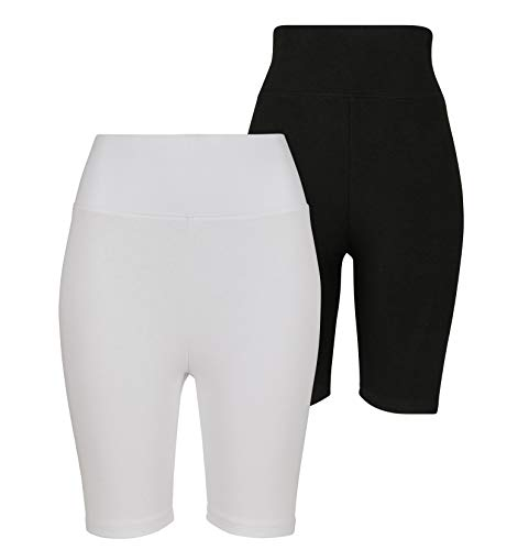 Urban Classics Ladies Radler-Hose High Waist Cycle Shorts 2-Pack Pantaloncini da Yoga, Nero/Bianco, XXL Donna