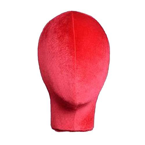 Milageto Mannequin Modèle Liège Tête Velours Couverture Perruque Faisant Chapeau Support D'affichage - Rouge