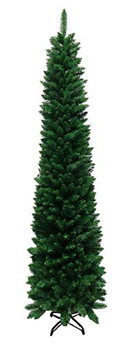 Tektrum 8-Feet Artificial Christmas Fir Pencil Tree with Tapered Branch Tips, Solid Metal Stand for Christmas/Holiday/Party - Slim Slender Tree for Tight Spaces (SYCT-1610E)