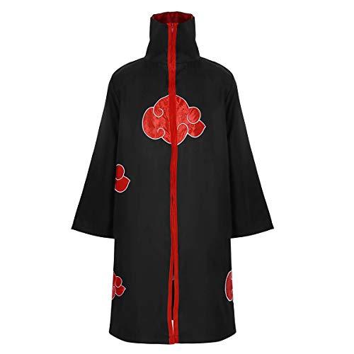 Freebily Cappotto Lungo Nero Tunica Medievale Kimono Giapponese Carnevale Mantello Versione con Colletto Travestimenti Halloween Festa di Compleanno Nero Medium