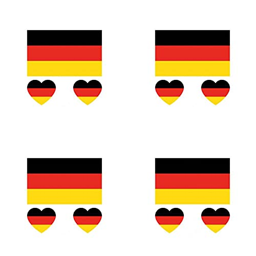Pack of 4 Germany Sticker Temporary Body Tattoo Flag German National Flags Euros World Cup Football Fans Music Festival Heart