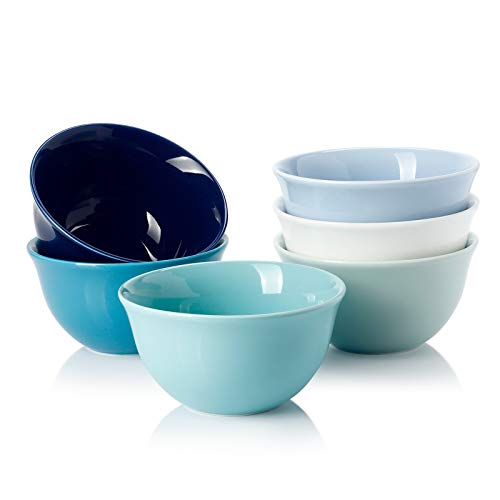 Sweese 122.003 Porcelain Bouillon Cups - 8 Ounce Dessert Bowls - Set of 6, Cool Assorted Colors
