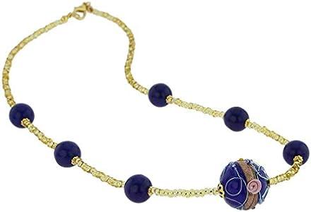 GlassOfVenice Rialto - Collar de Cristal de Murano, Color Azul Cobalto