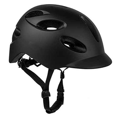 Al aire libre cómodo transpirable ciudad LED casco de equitación con luz trasera, casco de seguridad de bicicleta, bicicleta de carretera casco de bicicleta eléctrica negro M 54-58CM