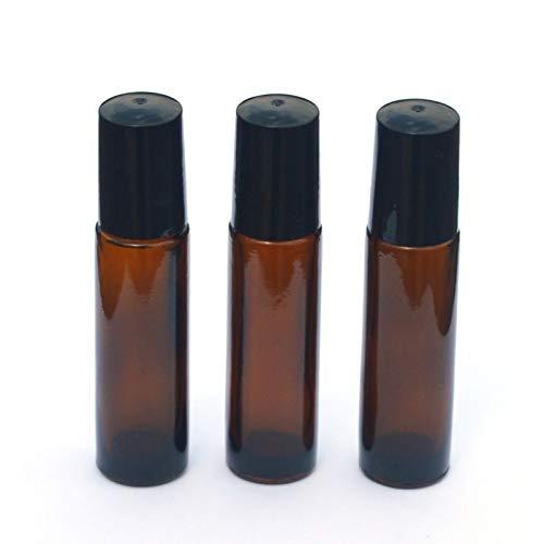 Kunyun 3 x 10 ml bernsteinfarbene Glasflasche zum Aufrollen, leere Parfümflaschen, ätherische Öle, 10 ml, schwarze Kunststoffkappe.