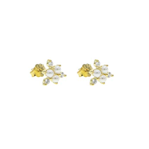 QIN 925 Plata esterlina Linda Animal Perla Cadena Cuentas Simple Mini Mini Lindo Oro y Plata 5a cz Pendientes Piercing