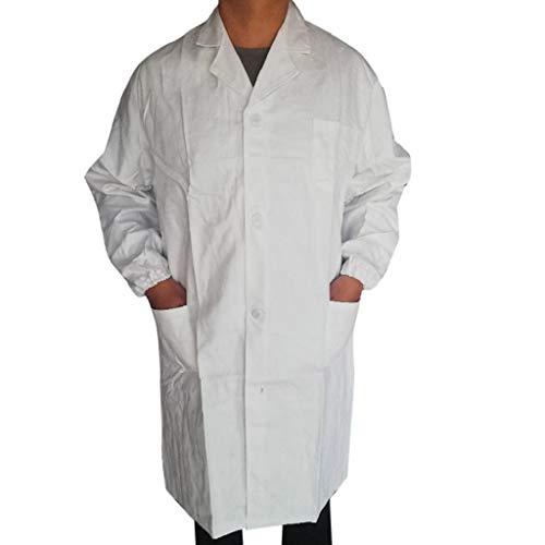 SHOBDW 2019 Liquidación Venta Bata Médica para Hombre Unisex Bata de Laboratorio Enfermera Sanitaria de Trabajo Blanca Manga Larga Hombre Botón Bolsillos Abrigos Hombre Color Blanco(Blanco,XL)