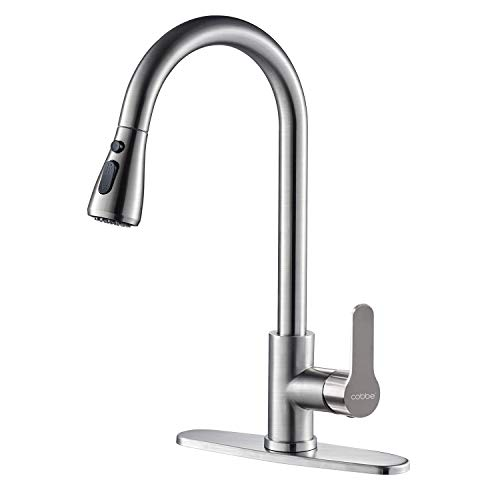 Kitchen Faucet with Pull Down Sprayer, Cobbe High Arc Gooseneck Kitchen Sink Faucet with Stainless Steel Single Handle Lead-Free Faucet for Kitchen Sinks (Brushed, Pause Mode)