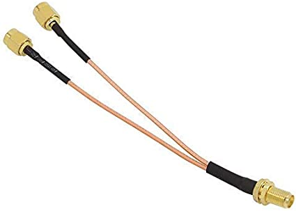 Cable de extensión del enrutador WiFi, tuerca hembra SMA a conector RF tipo Y macho 2X SMA, cable coaxial de coleta RG316 15CM
