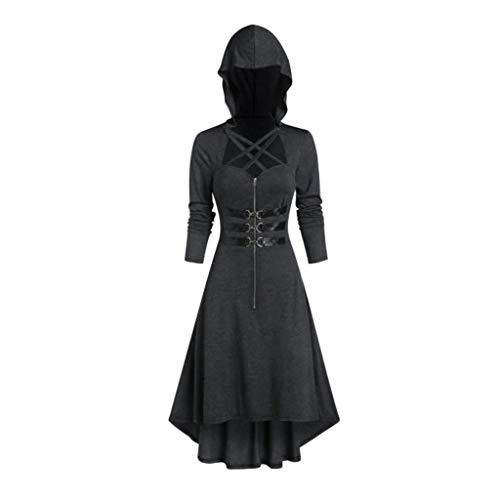 Halloween Costume Frauen Weinlese Cosplay mit Kapuze Reißverschluss Verband langem Mantel Kostüm Damen Zombie Braut Vampir Gruseliger Cosplay Vintage Swing Dress Gothic Karneval(M.Schwarz)