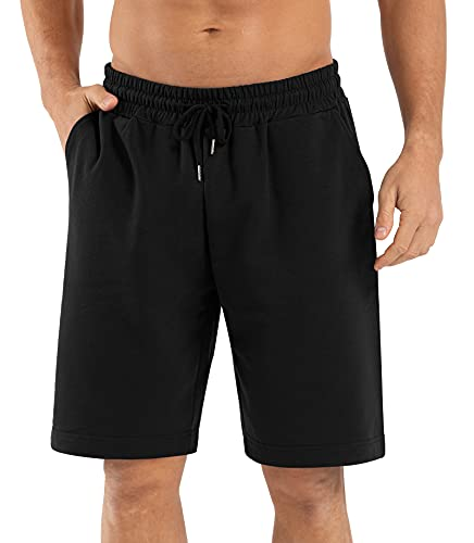 "Sarin Mathews Mens 9"" Shorts Athletic Running Shorts Elastic Waist Gym Cotton Basketball Workout Shorts with Pockets Black L"