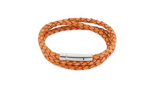 Leren sieraad (armband) leren armband gevlochten kleur oranje drie rijen lengte ca. 57 cm roestvrijstalen magneetsluiting modelnummer 4405
