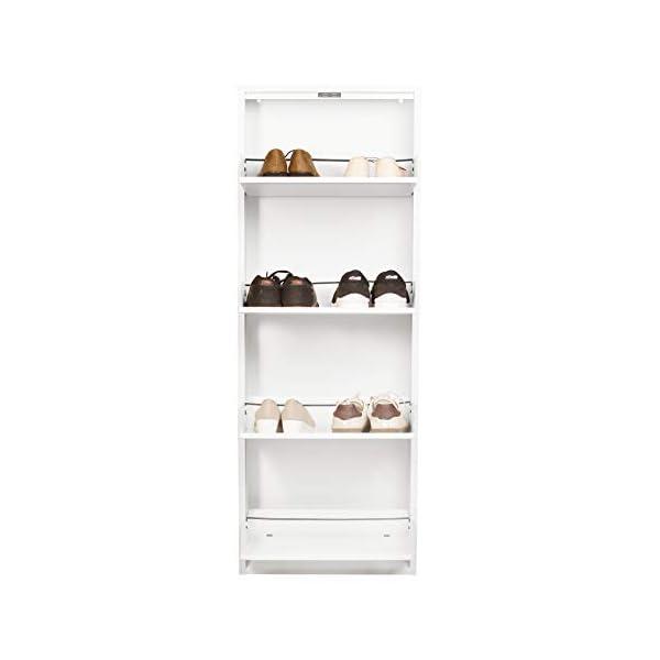 Mabel Home Modern 4-Drawer Shoe Cabinet, 4-Tier Shoe Rack Storage Organizer, (White)