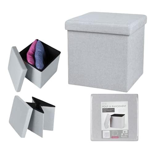 TIENDA EURASIA® Puff Plegable de Tela Ideal para Salon, Dormitorio - Baul de Almacenaje en Colores Lisos Tendencia - Medida 38 x 38 x 38 cm (Gris Claro)