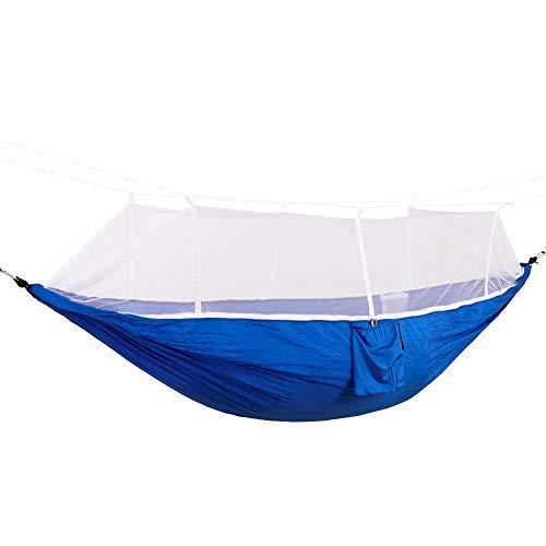 Alinory Hamacas Columpio Hamacas portátiles, Columpio Ligero con Red, Transpirable para Acampar al Aire Libre(Blue (White Net))