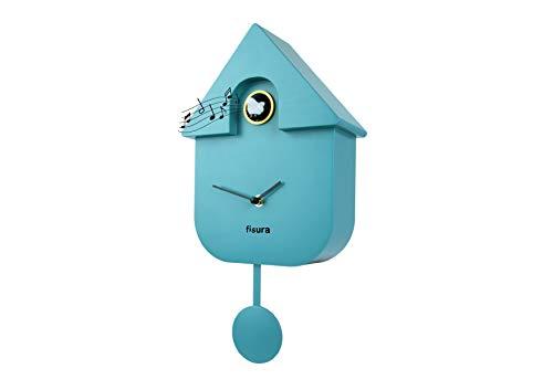 Fisura CL0822 Reloj Cuco Moderno de Pared con Pájaro con Forma de Casa | Reloj Cuco Minimalista con un Diseño Moderno, Color Azul 21x8x40cm