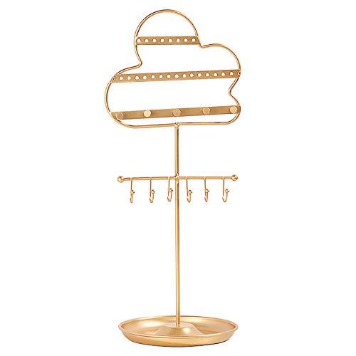 Estante de exhibición de joyas de metal, para decoración de escritorio, para colgar joyas, color negro