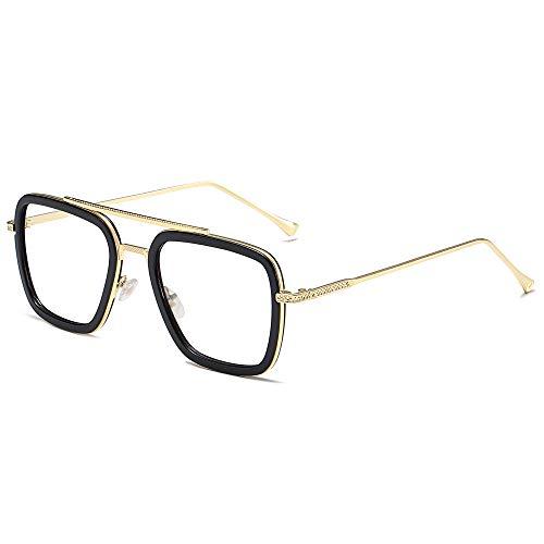 SOJOS Blue Light Blocking Glasses for Men Women Aviator Square Classic Tony Stark Glasses SJ1126 with Gold Frame/Black Rim/Anti-Blue Light Lens