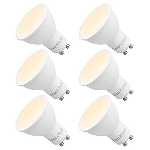 Dimmbare 7W 650Lm GU10 LED Einbauleuchten Leuchtmittel Lampen 120° Breiter Abstrahlwinkel Warmweiß 3000K AC220~240V Trailing Edge Dimmbar Ersatz 60W Halogen 6er Pack von Enuotek