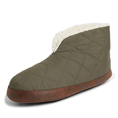Dearfoams Men's Original Nylon Warm Up Bootie Slipper, Loden, Large