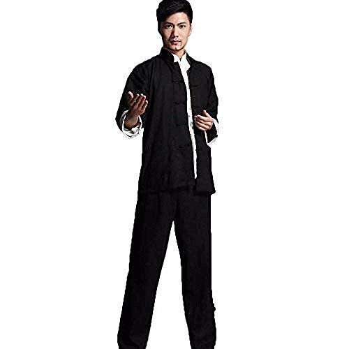 XYSQWZ Taichi Bruce Lee Vintage Chino Wing Chun Kung Fu Uniforme Algodón Seda Artes Marciales Tai Chi Trajes Negro-XXL